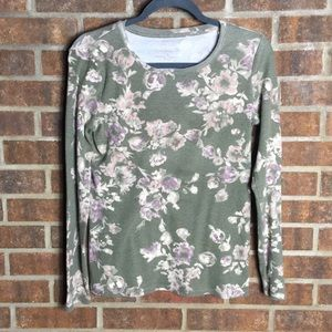 Sonoma Tan Floral Everyday Long Sleeve Top